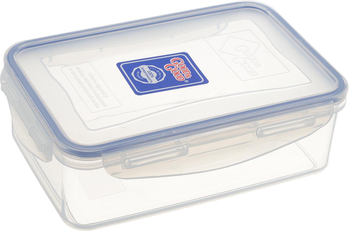 Контейнер пищевой Good&Good, цвет: прозрачный, синий, 1,1 л3-1/LIDCOLПрямоугольный контейнер Good&Good изготовлен из высококачественного полипропилена и предназначен для хранения любых пищевых продуктов. Благодаря особым технологиям изготовления, лотки в течение времени службы не меняют цвет и не пропитываются запахами. Крышка с силиконовой вставкой герметично защелкивается специальным механизмом. Контейнер Good&Good удобен для ежедневного использования в быту. Можно мыть в посудомоечной машине и использовать в микроволновой печи. Размер контейнера (с учетом крышки): 20,1 х 13,5 х 6,5 см.