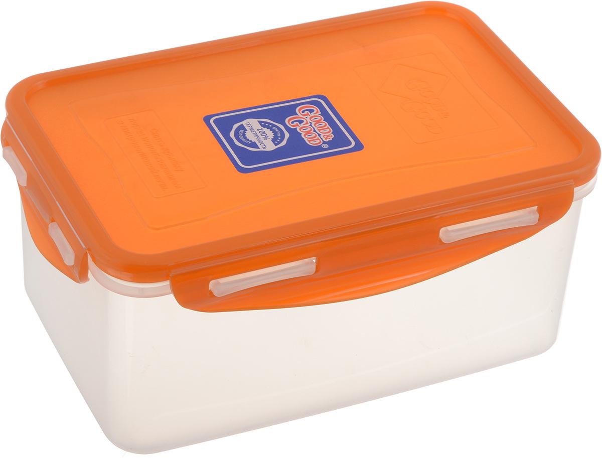 Контейнер пищевой Good&Good, цвет: прозрачный, оранжевый, 1,5 л. B/COL 3-2B/COL 3-2Прямоугольный контейнер Good&Good изготовлен из высококачественного полипропилена и предназначен для хранения любых пищевых продуктов. Благодаря особым технологиям изготовления, лотки в течение времени службы не меняют цвет и не пропитываются запахами. Крышка с силиконовой вставкой герметично защелкивается специальным механизмом. Контейнер Good&Good удобен для ежедневного использования в быту. Можно мыть в посудомоечной машине и использовать в микроволновой печи. Размер контейнера (с учетом крышки): 20 х 13,5 х 9 см.