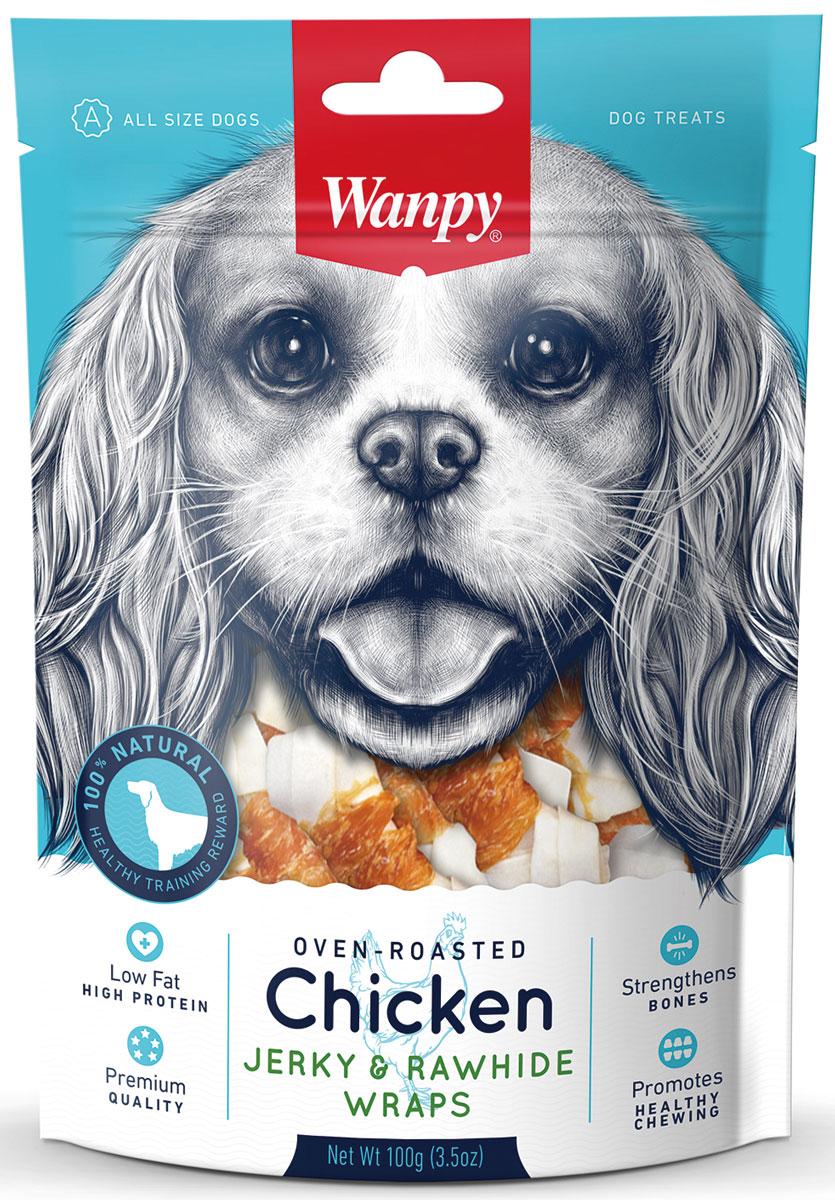 """Лакомство для собак Wanpy """"Dog"""", кости из сыромятной кожи с куриным мясом, 100 г CD-08H"""