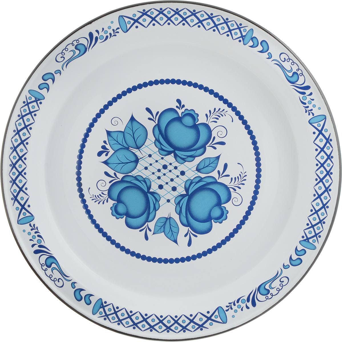 Блюдо Эмаль, диаметр 36 см01-0810 А/7,А1/7Блюдо Эмаль выполнено из стали с эмалевым покрытием. Такое покрытие защищает сталь от коррозии, придает посуде гладкую стекловидную поверхность и надежно защищает от кислот и щелочей. Изделие декорировано синим цветочным узором. Отлично подойдет для подачи ягод, фруктов и овощей. Яркое блюдо послужит не только удобной посудой, но и оригинальным элементом кухонного интерьера.