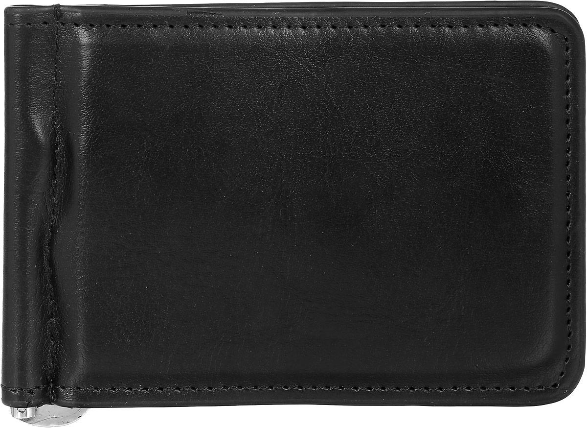 Зажим для купюр мужской Leighton, цвет: черный. 736736 blackМужской зажим для купюр Leighton выполнен из искусственной кожи. Закрывается изделие с помощью встроенного магнита. Внутри карман для пластиковой карточки, снаружи карман на молнии.