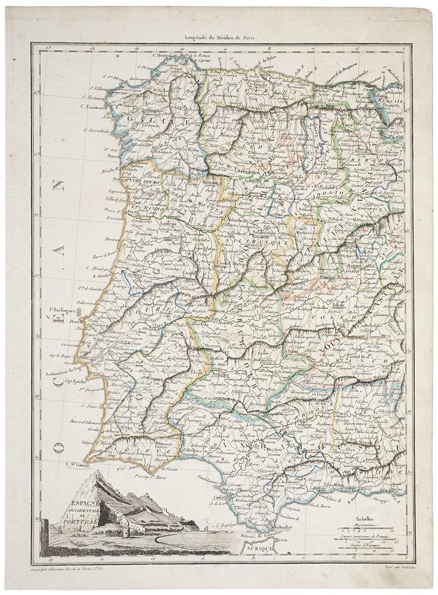 Географическая карта Западной Испании и Португалии. Гравюра. Франция, начало XIX века