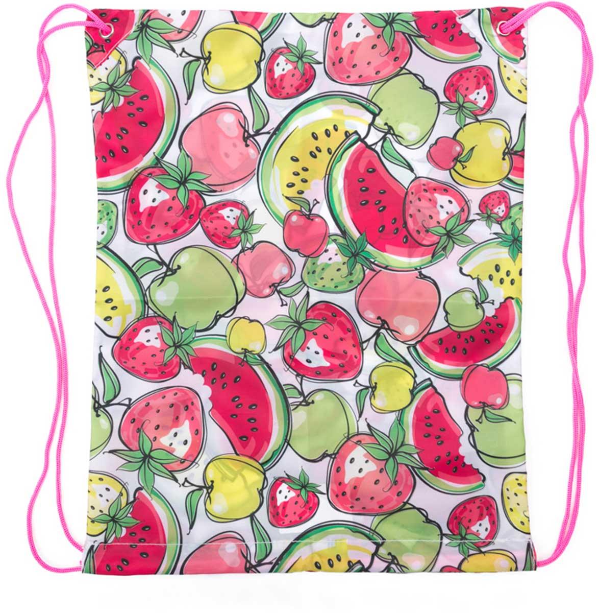 Рюкзак для девочки PlayToday, цвет: розовый, зеленый, белый. 172706172706Стильный рюкзак для девочки выполнен из полиэстера и украшен оригинальным принтом. Верх утягивается шнурком. Рюкзак оснащен тонкими плечевыми лямками.