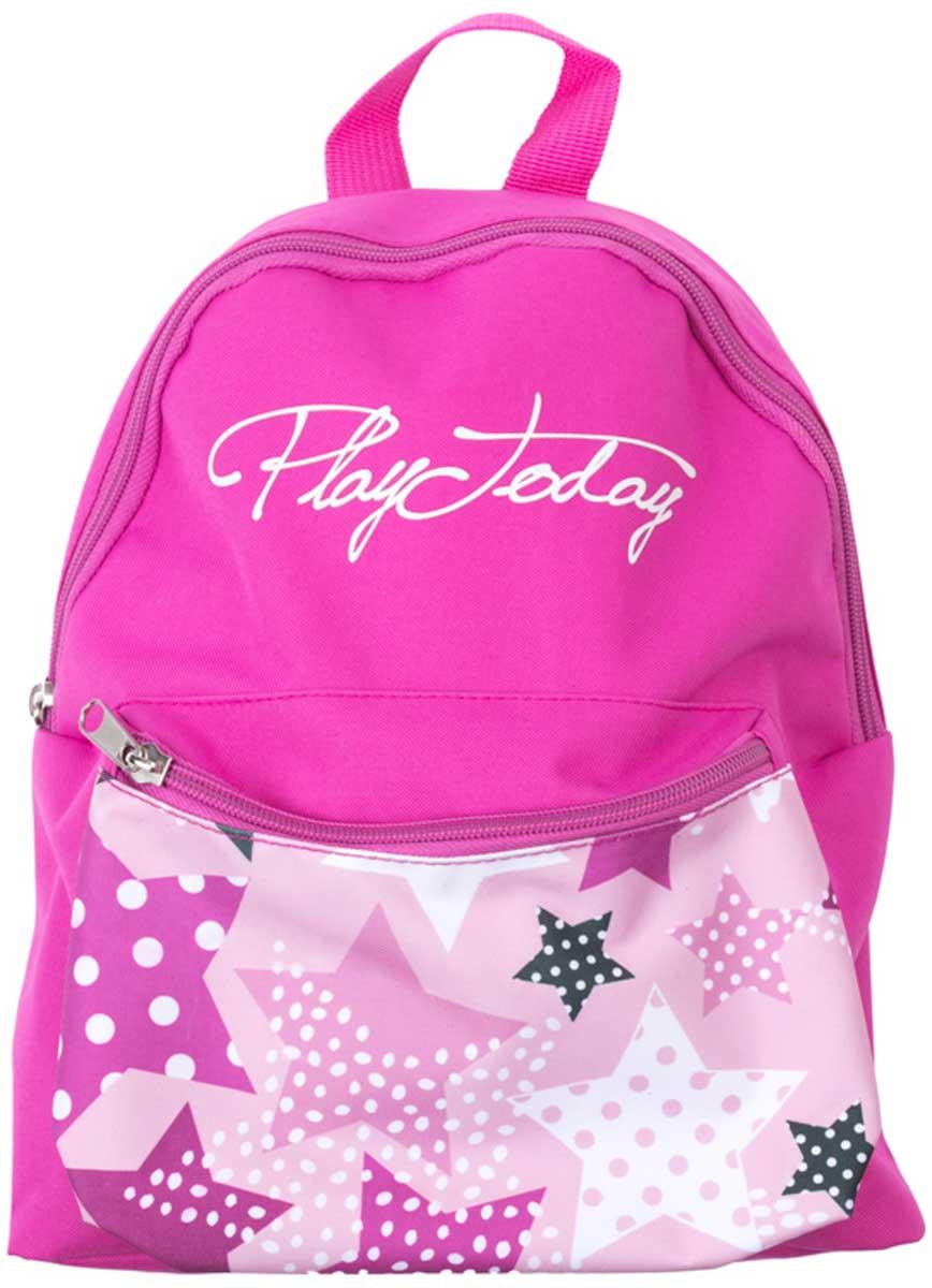 Рюкзак для девочки PlayToday, цвет: розовый. 172752172752Удобный рюкзак с забавным принтом выполнен из полиэстера с водоотталкивающей пропиткой. Спереди объемный карман на молнии. Внутри дополнительный вкладной мешок, в который можно класть обувь. Плечевые ремни регулируются по длине. Модель продается с мягким пеналом.