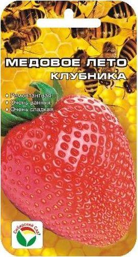 Семена Сибирский сад Клубника. Медовое лето, 5 штBP-00000235Новый крупноплодный ремонтантный сорт, выгодно отличающийся суперранними сроками плодоношения, суперсладким вкусом и сильным ароматом ягод. Сорт нейтрального дня, формирует плодоносящие усы в год посадки, обеспечивая дружную отдачу урожая дважды в сезон. С каждого куста можно собрать до 900 грамм сладких красивых ягод, выровненных по форме и размеру вне зависимости от их количества на ветви. При хорошем уходе первый урожай можно получать уже в начале июня. Основное достоинство сорта во вкусе и аромате ягод, в ранних сроках созревания и плотной консистенции мякоти, допускающей долговременную транспортировку. Кусты этого сорта требуют больше места, т.к. с усами занимают площадь почти 0,7 м2. В открытом грунте или на стеллажах в теплицах, когда корневая система развивается беспрепятственно, кисти вырастают длинной до 40-45 см, что придает дополнительную декоративность растению. Сорт можно выращивать и в подвесных емкостях, обеспечивая ежедневный полив и...