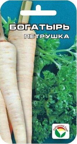 Семена Сибирский сад Петрушка. Богатырь, 1 гBP-00000365Высокоурожайный сорт универсального назначения (на зелень и корнеплод). Листья и корнеплоды имеют приятный вкус, высокую ароматичность, содержит много витаминов, минеральных солей и эфирных масел. Используется в свежем и сушеном виде в кулинарии и консервировании. Высевать петрушку в три срока: ранней весной, летом и поздней осенью за 10-15 дней до наступления мороза. Семена высевают в рядки на глубину 1-1,5 см. Для лучшего формирования корнеплодов необходима разреженная посадка.