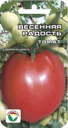 Семена Сибирский сад Томат. Весенняя радость, 20 штBP-00000469Среднеранний, очень урожайный сорт для теплиц, позволяющий в полной мере использовать возможности защищенного грунта. Растение индетерминантное, мощное, со сближенными междоузлиями, высотой до 2 м. На кусте формируется 5-6 мощных кистей с красивыми однородными плодами интенсивно - красного цвета. Томаты ровные, округлые с носиком, с темным прозревающим пятном у плодоножки, крупные, массой 180-250 г. Плоды высокотоварные, с плотной консистенцией стенки, длительно сохраняют форму, хорошего вкуса. Урожайность сорта более 12 кг/м2. Сорт характеризуется хорошей устойчивостью к основным заболеваниям томатов. Назначение универсальное. Для получения стабильного урожая лучше высаживать рассадные растения 60-65 дневного возраста. Посев на рассаду производят за 50-60 дней до высадки растений на постоянное место. Оптимальная постоянная температура прорастания семян 23-25 град. При высадке в грунт на 1 м2 размещают 3 растения. Сорт хорошо реагирует на полив и...