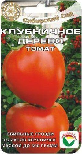 Семена Сибирский сад Томат. Клубничное дерево, 20 штBP-00000541Удачный среднеранний сорт от сибирских селекционеров. На уровне лучших гибридов по урожайности и качеству плодов, устойчивости к основным заболеваниям томатов. От всходов до плодоношения 112-115 дней. Растение высокорослое (до 2 м), мощное, хорошо облиственное. Формирует до 6 красивейших кистей с 5-7 красными томатами массой 200-250 г, в форме ягоды садовой клубники. За счет укороченных междоузлий кисти сближены, куст смотрится мощно и эффектно, как небольшое деревце, украшает теплицу. Плотные плоды обладают хорошим вкусом, хорошо дозариваются, универсального назначения. Рекомендуется для выращивания в защищенном грунте. Потенциальная урожайность до 12 кг с 1 м2. При необходимости защиты от фитофтороза и альтернариоза рекомендуется проводить профилактические обработки томатов. Первое опрыскивание - в стадии 4-6 настоящих листьев, последующие - с интервалом 7-10 дней, но не позднее 20 дней до начала сбора плодов.