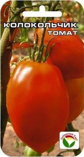 Семена Сибирский сад Томат. Колокольчик F1 в пачке-BP-00000545Среднеспелый сорт. Куст высотой до 1,5м. В соцветии завязывается 7-9 плодов. Плоды красные, вытянутой формы, массой 150-200гр, мясистые с малым количеством семян, отличного вкуса