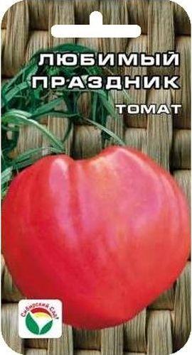 Семена Сибирский сад Томат. Любимый праздник, 20 штBP-00000Среднеспелый детерминантный сорт сибирской селекции с особо крупными плодами. Растение мощное, высотой 80 см. Плоды почковидной формы, густо- розового цвета, огромного размера, массой 900-1300 г. Прекрасно подходят для потребления в свежем виде и зимних заготовок. Сорт характеризуется стабильно высокими урожаями в независимости от погодных условий. При высадке в грунт на 1 м2 высаживается 3 растения. Выращивается в 2-3 стебля с подвязкой.
