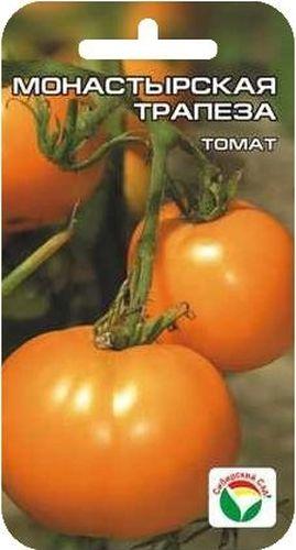 Семена Сибирский сад Томат. Монастырская трапеза, 20 штBP-00000583Среднеранний, детерминантный сорт, с крупными плодами редкой апельсиново- оранжевой окраски. Куст высотой 0,7-1,5 м в зависимости от условий выращивания. На растении завязывается 7-9 кистей с солнечными плодами- близнецами, массой до 400 г. Томаты правильной круглой формы, плотные, цвета зрелых апельсинов. Вкус нежный, сахарный, с малым содержанием кислот. Рекомендуется для диетического питания. Хорошая, стабильная урожайность. Посев на рассаду производят за 50-60 дней до высадки растений на постоянное место. Оптимальная температура прорастания семян 23-25°С. При высадке в грунт на 1 м2 размещают 3-4 растения. Сорт хорошо реагирует на полив и подкормки комплексными минеральными удобрениями. Выращивают в 1-2 стебля с подвязкой. Для ускорения процесса всхожести семян, оздоровления растений, улучшения завязываемости плодов рекомендуется пользоваться специально разработанными стимуляторами роста и развития растений.