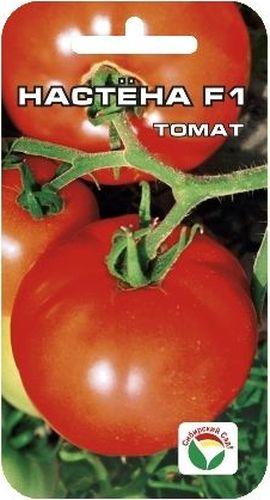 Семена Сибирский сад Томат. Настена F1BP-00000589Раннеспелый. Куст мощный, высотой 100-120см. Плоды крупные, массой до 300гр, округлые, красного цвета. Томаты плотные, но не жесткие, прекрасно хранятся на протяжении 1,5 месяцев.