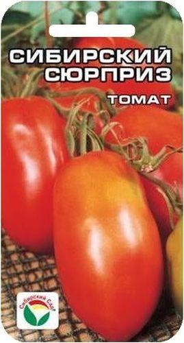 Семена Сибирский сад Томат. Сибирский сюрпризBP-00000659Среднеранний, до 150гр, перцевидный, красный, 1м-1,2м. Характеризуется хорошей завязываемостью в разных погодных условиях.