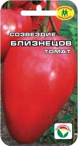 Семена Сибирский сад Томат. БлизнецыBP-00000675Крупноплодный, детерминантный сорт высотой до 1м. В кисти формируется 5-6 удлиненно-овальных ровных плода малинового цвета, средней массой 220гр.Прекрасная лежкость.