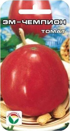 Семена Сибирский сад Томат. Эм ЧемпионBP-00000714Среднеранний, до 800гр, сердцевидный, малиново-розовый, 0,5м-0,7м. Низкорослый, урожайный, для открытого грунта.