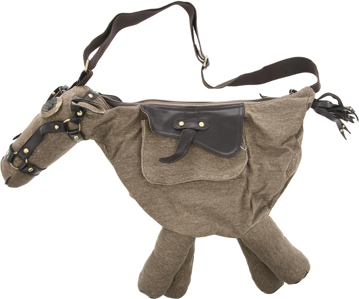 Сумка дизайнерская YusliQ Пони, цвет: коричневый, 41 х 47 см. SP-01SP-01Стильная сумка Пони пригодится тебе в учебе, в путешествии, и в повседневном использовании. Просторное основное отделение закрывается на молнию. Ремешок позволяет носить сумку как на плече, так и через плечо. Материал: холст, кожа, металл.