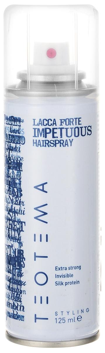 Teotema Лак сильной фиксации 125TEO 5018Лак сильной фиксации предназначен для завершения причёски и создания естественной укладки. Обеспечивает продолжительный эффект и придаёт сияющий блеск, не склеивает волосы. Активные компоненты: провитамин В5: добавляет волосам натуральный блеск, делает их здоровыми, отлично кондиционирует.