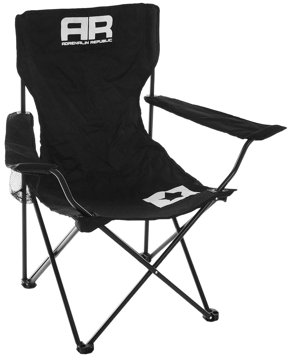 Стул складной Adrenalin Republic Mac Tag JR, цвет: черный, белый, 56 х 56 х 81 см80081Складной стул Adrenalin Republic Mac Tag JR с удобными подлокотниками и оборудованным на одном из них держателем стакана станет отличным спутником на любом пикнике, рыбалке или просто отдыхе на природе. Прочный каркас долговечен и выдерживает солидные нагрузки, а тканевое сиденье позволит удобно расположиться на природе так, как будто вы дома в любимом кресле! В сложенном виде стул занимает мало места. Стул поставляется в тканевом чехле.