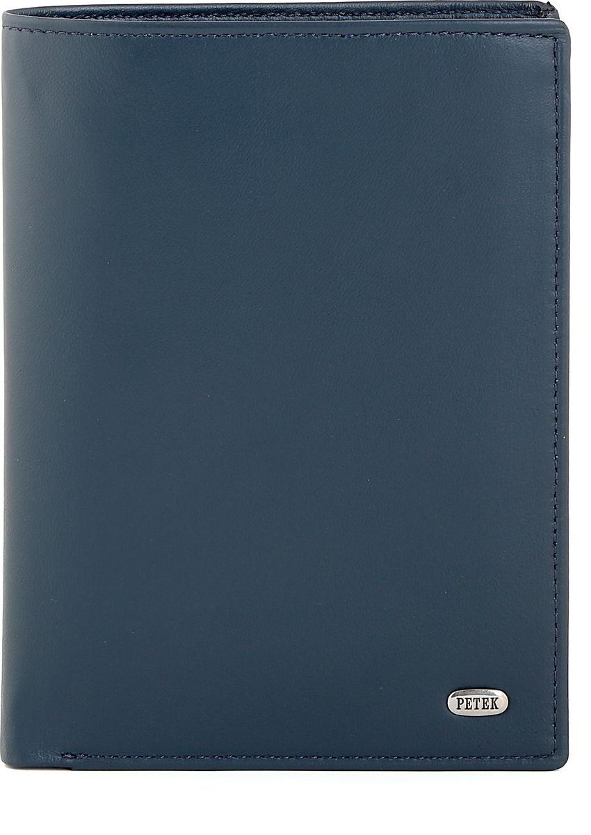 Обложка для автодокументов Petek 1855, цвет: синий. 597.167.88597.167.88 NavyОбложка для паспорта и автодокументов из натуральной кожи великолепной выделки. Практичная и удобная модель для тех, кто предпочитает все необходимое хранить в одном месте. Внутри обложка имеет специальное отделение для паспорта, вынимающийся блок из прозрачного пластика для автодокументов. Обложка застегивается на кнопку.