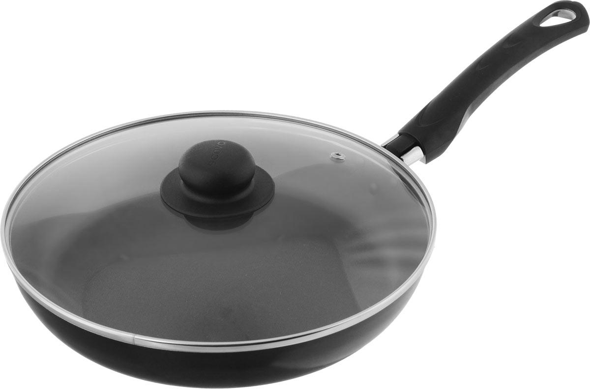 Сковорода Scovo Consul с крышкой, c антипригарным покрытием. Диаметр 26 см. RC-010RC-010Сковорода Scovo Consul выполнена из алюминия с антипригарным покрытием. Такое покрытие исключает прилипание и пригорание пищи к поверхности посуды, обеспечивает легкость мытья посуды, исключает необходимость использования большого количества масла, что способствует приготовлению здоровой пищи с пониженной калорийностью. Сковорода безопасна для здоровья, так как не содержит PFOA, соединений свинца и кадмия. Изделие оснащено удобной пластиковой ручкой. Крышка, выполненная из термостойкого стекла, позволяет следить за процессом приготовления без потери тепла. Специальное отверстие для выхода пара предотвращает выкипание. Сковорода подходит для газовых, электрических и стеклокерамических плит. Можно мыть в посудомоечной машине. Диаметр сковороды (по верхнему краю): 26 см. Длина ручки: 18,5 см. Высота стенки: 4,5 см.