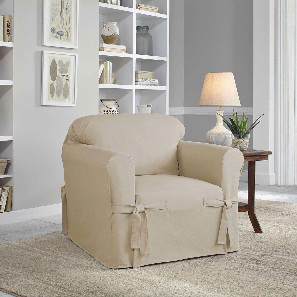 Чехол на кресло Медежда Брайтон, цвет: бежевый1401011203000Чехол на кресло Медежда Брайтон изготовлен из 60% хлопка и 40% полиэстера. Чехол не эластичен, но хорошо принимает форму кресла. Подходит для кресел с шириной спинки от 80 до 110 см. Благодаря классической однотонной расцветке чехол легко гармонирует почти со всеми палитрами цвета и любым типом интерьера. Изделие украсит вашу гостиную и создаст комфорт и уют в доме. Чехол очень удобен и прост в установке. Машинная стирка при температуре 30°С. Чехлы на мебель Медежда универсальны и подходят на большинство моделей мебели. Такова особенность кроя изделий свободного стиля или тянущегося материала стрейч стиля. Основное значение при подборе имеет только ширина спинки.