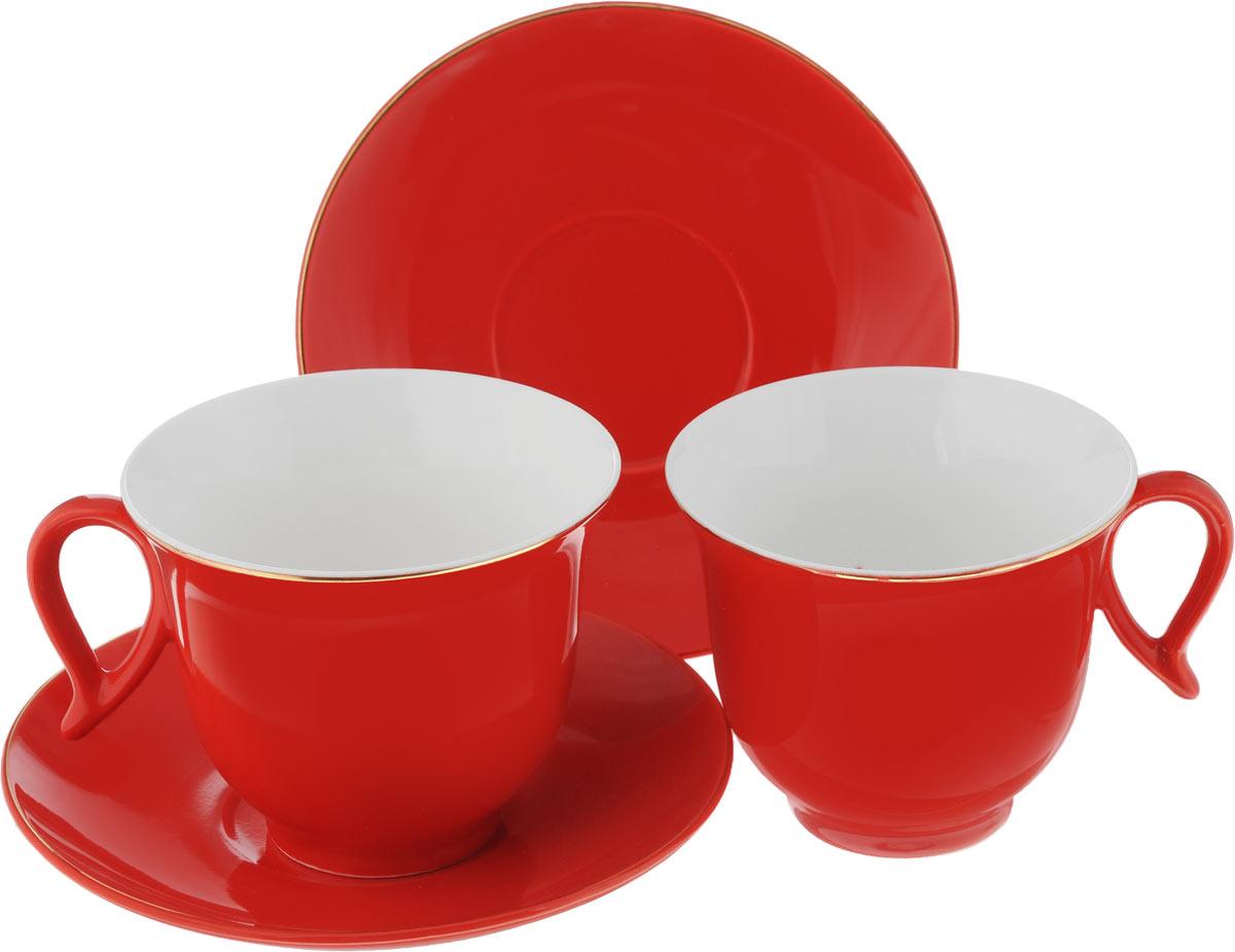Чайный набор Loraine, цвет: красный, 4 предмета24745Чайный набор Loraine, выполненный из керамики, состоит из 2 чашек и 2 блюдец. Предметы набора имеют яркую расцветку. Изящный дизайн и красочность оформления придутся по вкусу и ценителям классики, и тем, кто предпочитает современный стиль. Чайный набор - идеальный и необходимый подарок для вашего дома и для ваших друзей в праздники, юбилеи и торжества! Он также станет отличным корпоративным подарком и украшением любой кухни. Чайный набор упакован в подарочную коробку из плотного цветного картона. Внутренняя часть коробки задрапирована белым атласом. Диаметр кружки (по верхнему краю): 9,3 см. Высота стенки: 7,5 см. Диаметр блюдца: 14,2 см. Высота блюдца: 2 см. Объем чашки: 220 см.