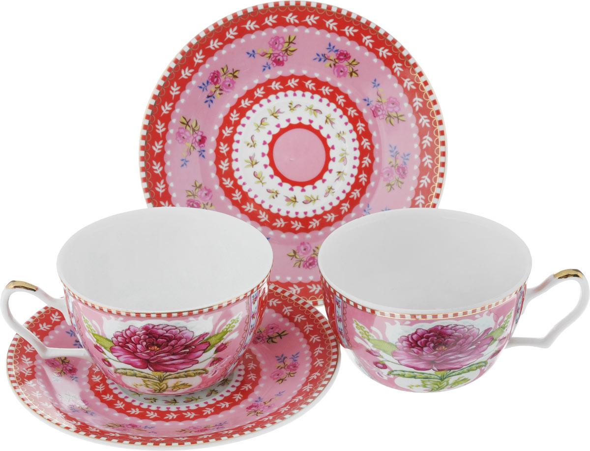Набор чайный Loraine, цвет: розовый, красный, зеленый, 4 предмета24584Чайный набор Loraine, выполненный из керамики, состоит из 2 чашек и 2 блюдец. Предметы набора оформлены ярким изображением цветов. Изящный дизайн и красочность оформления придутся по вкусу и ценителям классики, и тем, кто предпочитает современный стиль. Чайный набор - идеальный и необходимый подарок для вашего дома и для ваших друзей в праздники, юбилеи и торжества! Он также станет отличным корпоративным подарком и украшением любой кухни. Чайный набор упакован в подарочную коробку из плотного цветного картона. Внутренняя часть коробки задрапирована белым атласом. Диаметр кружки (по верхнему краю): 9,5 см. Высота стенки: 5,9 см. Диаметр блюдца: 15 см. Высота блюдца: 1,7 см. Объем чашки: 250 см.