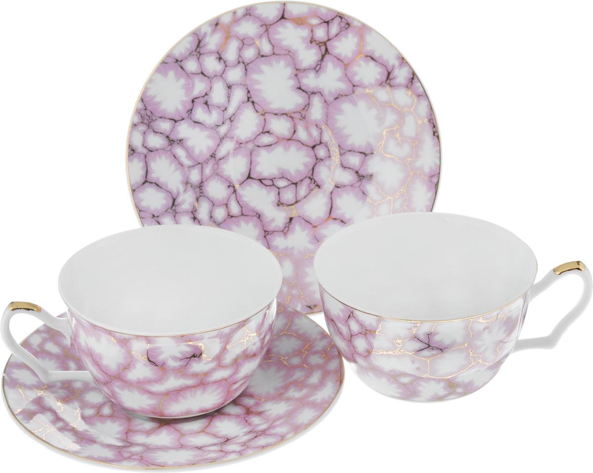 Набор чайный Loraine, цвет: розовый, белый, 4 предмета20987Чайный набор Loraine, выполненный из керамики, состоит из 2 чашек и 2 блюдец. Предметы набора имеют яркую расцветку. Изящный дизайн и красочность оформления придутся по вкусу и ценителям классики, и тем, кто предпочитает современный стиль. Чайный набор - идеальный и необходимый подарок для вашего дома и для ваших друзей в праздники, юбилеи и торжества! Он также станет отличным корпоративным подарком и украшением любой кухни. Чайный набор упакован в подарочную коробку из плотного цветного картона. Внутренняя часть коробки задрапирована белым атласом. Диаметр кружки (по верхнему краю): 9,7 см. Высота стенки: 5,9 см. Диаметр блюдца: 15,5 см. Высота блюдца: 1,7 см. Объем чашки: 250 см.