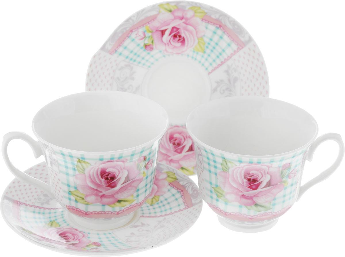 Набор чайный Loraine, цвет: розовый, белый, зеленый, 4 предмета22958Чайный набор Loraine, выполненный из керамики, состоит из 2 чашек и 2 блюдец. Предметы набора имеют яркую расцветку. Изящный дизайн и красочность оформления придутся по вкусу и ценителям классики, и тем, кто предпочитает современный стиль. Чайный набор - идеальный и необходимый подарок для вашего дома и для ваших друзей в праздники, юбилеи и торжества! Он также станет отличным корпоративным подарком и украшением любой кухни. Чайный набор упакован в подарочную коробку из плотного цветного картона. Внутренняя часть коробки задрапирована белым атласом. Диаметр кружки (по верхнему краю): 9,3 см. Высота стенки: 7,5 см. Размеры блюдца: 13,6 х 14,2 см. Высота блюдца: 1,5 см. Объем чашки: 240 см.