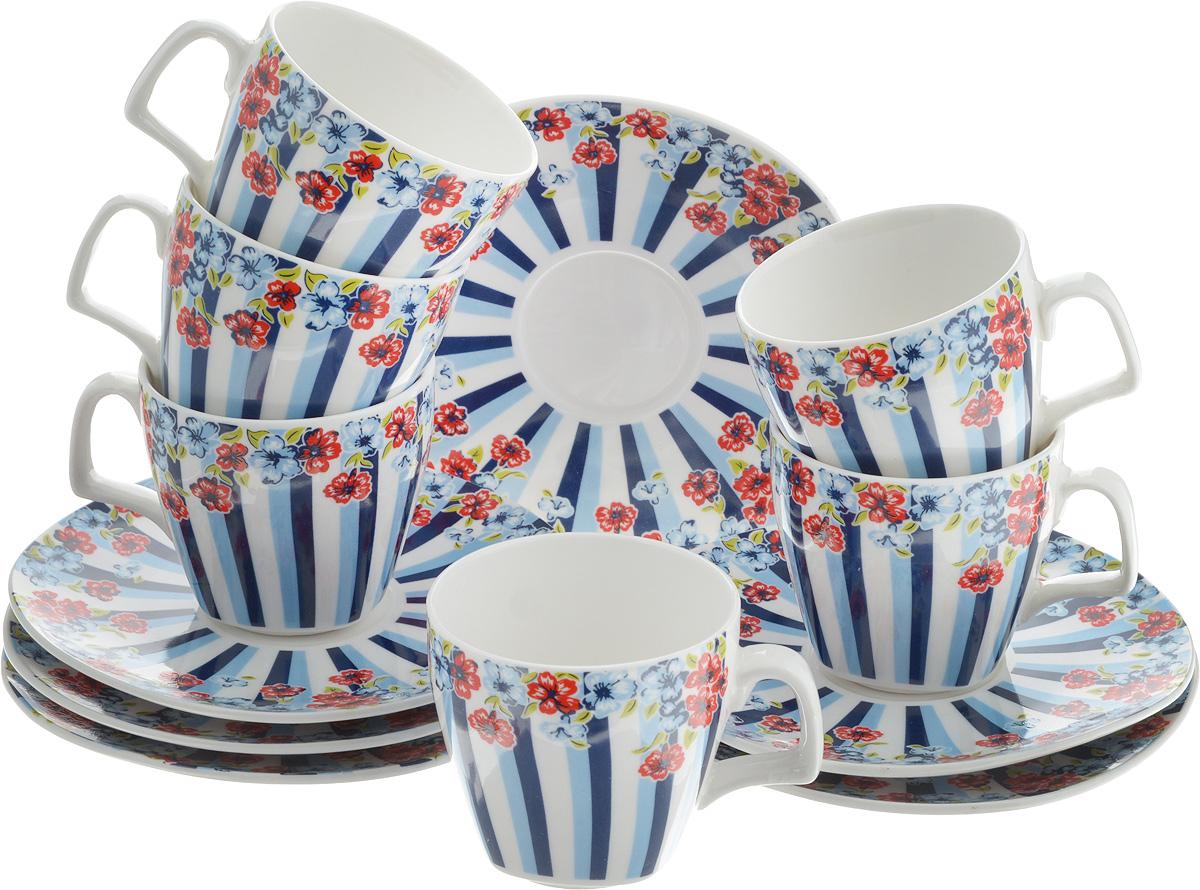 Набор кофейный Loraine Цветок, 12 предметов24754Кофейный набор Loraine Цветок состоит из 6 чашек и 6 блюдец, выполненных из высококачественного фарфора. Изящный дизайн придется по вкусу и ценителям классики, и тем, кто предпочитает утонченность и изысканность. Он настроит на позитивный лад и подарит хорошее настроение с самого утра. Набор упакован в стильную подарочную коробку. Внутренняя часть коробки задрапирована белой атласной тканью. Каждый предмет надежно зафиксирован внутри коробки, благодаря специальным выемкам. Кофейный набор Loraine Цветок - идеальный и необходимый подарок для вашего дома и для ваших друзей в праздники, юбилеи и торжества! Он также станет отличным корпоративным подарком и украшением любой кухни. Диаметр блюдца: 12 см. Высота блюдца: 1,5 см. Диаметр чашки (по верхнему краю): 6 см. Высота чашки: 6 см. Объем чашки: 80 мл.