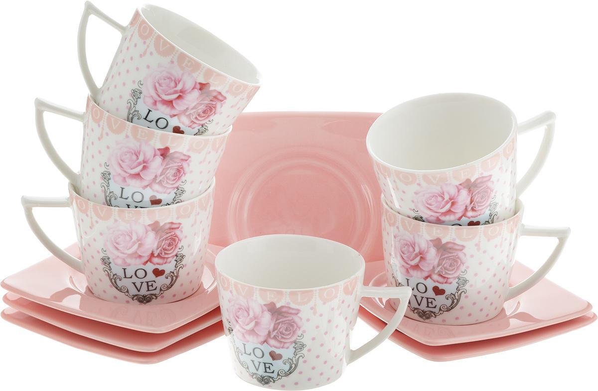 Набор кофейный Loraine Love, 12 предметов. LR-24717LR-24717Кофейный набор Loraine Love состоит из 6 чашек и 6 блюдец, выполненных из высококачественной керамики с глазурованным покрытием. Изящный дизайн придется по вкусу и ценителям классики, и тем, кто предпочитает утонченность и изысканность. Он настроит на позитивный лад и подарит хорошее настроение с самого утра. Набор упакован в стильную подарочную коробку. Внутренняя часть коробки задрапирована белой атласной тканью. Каждый предмет надежно зафиксирован внутри коробки благодаря специальным выемкам. Кофейный набор Loraine Love - идеальный и необходимый подарок для вашего дома и для ваших друзей в праздники, юбилеи и торжества! Он также станет отличным корпоративным подарком и украшением любой кухни. Диаметр чашки (по верхнему краю): 6,5 см. Высота чашки: 5 см. Объем чашки: 100 мл. Размер блюдца: 9,5 х 9,5 х 1 см.