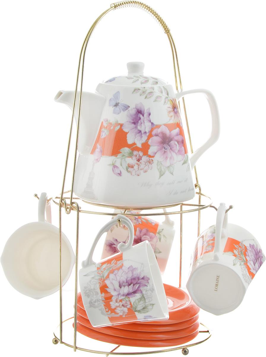 Набор чайный Loraine, на подставке, 10 предметов. 2473524735Чайный набор Loraine состоит из 4 чашек, 4 блюдец, заварочного чайника и подставки. Посуда изготовлена из качественной глазурованной керамики и оформлена изображением цветов. Блюдца и чашки имеют необычную фигурную форму. Все предметы располагаются на удобной металлической подставке с ручкой. Элегантный дизайн набора придется по вкусу и ценителям классики, и тем, кто предпочитает современный стиль. Он настроит на позитивный лад и подарит хорошее настроение с самого утра. Чайный набор Loraine идеально подойдет для сервировки стола и станет отличным подарком к любому празднику. Можно использовать в СВЧ и мыть в посудомоечной машине. Объем чашки: 250 мл. Размеры чашки (по верхнему краю): 8,5 х 8,2 см. Высота чашки: 7,5 см. Диаметр блюдца: 14 см. Высота блюдца: 1,5 см. Объем чайника: 1,1 л. Размер чайника (без учета ручки и носика): 13 х 13 х 13 см. Размер подставки: 18 х 18 х 37 см.