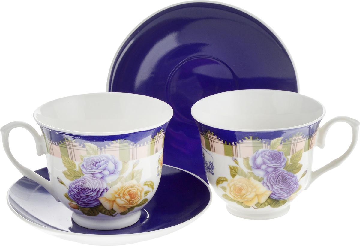 Набор чайный Loraine Розы, 4 предмета22990Чайный набор Loraine Розы состоит из двух чашек и двух блюдец. Изделия, выполненные из костяного фарфора, имеют элегантный дизайн и декорированы изображением цветов. Такой набор прекрасно подойдет как для повседневного использования, так и для праздников. Чайный набор упакован в подарочную коробку из плотного цветного картона. Внутренняя часть коробки задрапирована белым атласом. Чайный набор Loraine Розы - это не только яркий и полезный подарок для родных и близких, это также великолепное дизайнерское решение для вашей кухни или столовой. Объем чашки: 220 мл. Диаметр чашки (по верхнему краю): 9 см. Высота чашки: 7,5 см. Диаметр блюдца: 14 см. Высота блюдца: 2,2 см.