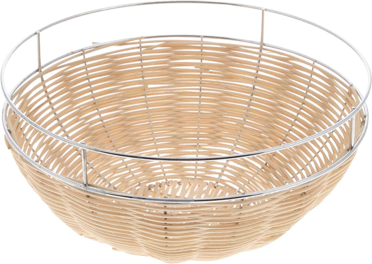 Корзина для фруктов Mayer & Boch, диаметр 27 см. 2094420944Элегантная корзина Mayer & Boch круглой формы, изготовленная из ротанга и высококачественного металла, идеально подойдет для красивой сервировки фруктов, хлеба и других угощений. Корзина Mayer & Boch прекрасно оформит стол и станет чудесным дополнением к вашей кухонной коллекции. Диаметр корзины (по верхнему краю): 27 см.