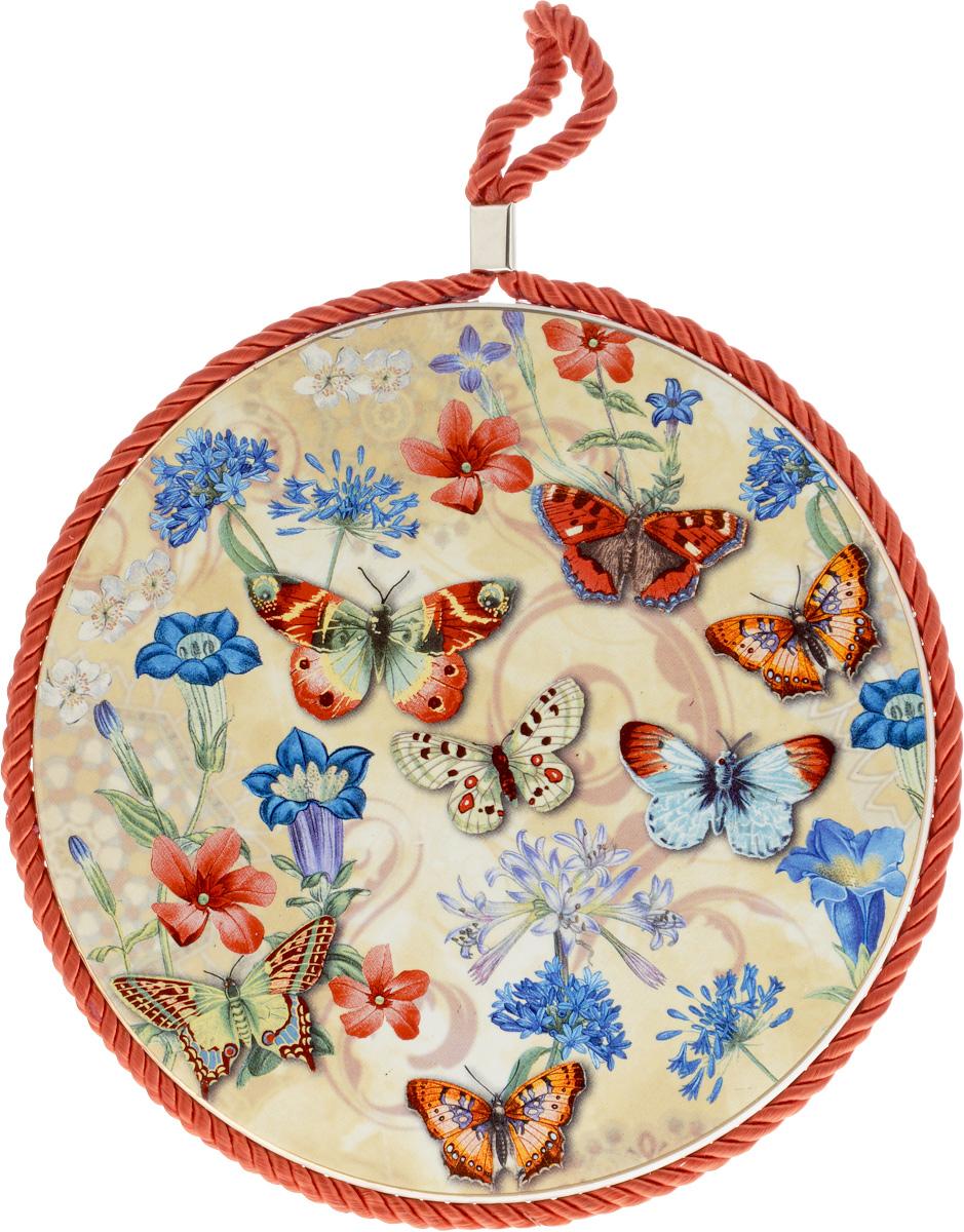 Подставка под горячее Loraine Бабочки, диаметр 17 см24549Круглая подставка под горячее Loraine Бабочки выполнена из высококачественной керамики. Изделие, декорированное красочным изображением, идеально впишется в интерьер современной кухни. Специальное пробковое основание подставки защитит вашу мебель от царапин. Подставка оснащена цветным шнурком с петелькой для подвешивания. Изделие не боится высоких температур и легко чистится от пятен и жира. Каждая хозяйка знает, что подставка под горячее - это незаменимый и очень полезный аксессуар на каждой кухне. Ваш стол будет не только украшен оригинальной подставкой с красивым рисунком, но также вы сможете уберечь его от воздействия высоких температур ваших кулинарных шедевров. Диаметр подставки: 17 см. Высота подставки: 1 см.