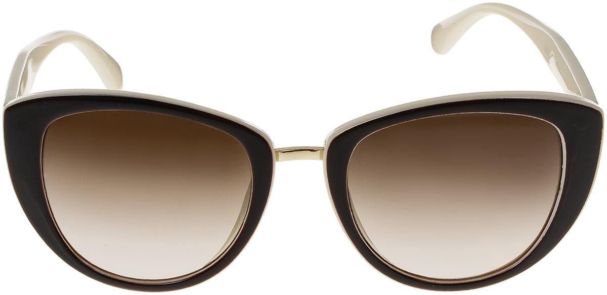 Очки солнцезащитные женские Vittorio Richi, цвет: коричневый, слоновая кость. OC8026с82-12/17fOC8026с82-12/17fСолнцезащитные очки Vittorio Richi выполнены из высококачественного пластика и металла. Пластик используемый при изготовлении линз не искажает изображение, не подвержен нагреванию и вредному воздействию солнечных лучей. Оправа очков легкая, прилегающей формы и поэтому обеспечивает максимальный комфорт. Такие очки защитят глаза от ультрафиолетовых лучей, подчеркнут вашу индивидуальность и сделают ваш образ завершенным.
