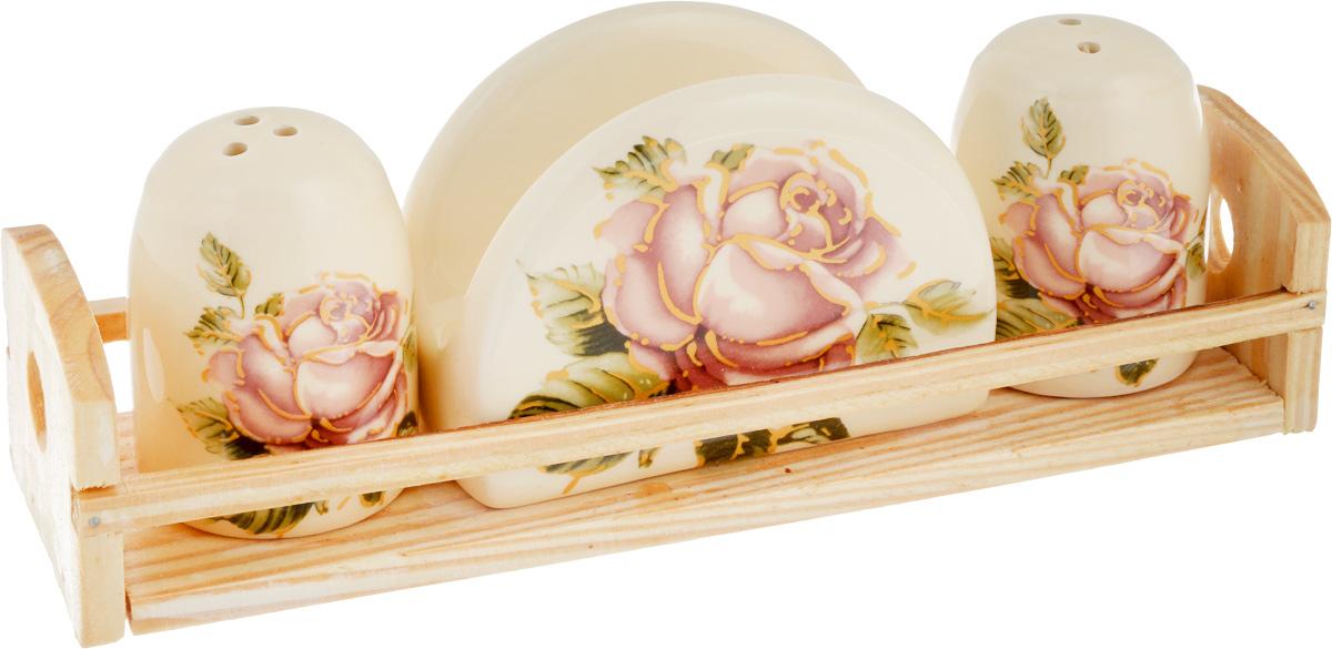 Набор для специй Loraine Розы, цвет: бежевый, розовый, зеленый, 4 предмета21672Набор для специй Loraine Розы состоит из двух емкостей для соли и перца, салфетницы и подставки. Изделия выполнены из высококачественной экологически чистой керамики и декорированы красочным изображением роз. Гладкое глазурованное покрытие приятно на ощупь. Подставка выполнена из дерева. Набор имеет элегантный современный дизайн. Сочные краски и аутентичный дизайн сделают набор отличным дополнением сервировки стола. Изделия можно использовать в СВЧ и мыть в посудомоечной машине. Размер емкостей: 4,3 х 4,3 х 6,5 см. Размер салфетницы: 9,5 х 4,5 х 7 см. Размер подставки: 21,5 х 6,2 х 5 см.