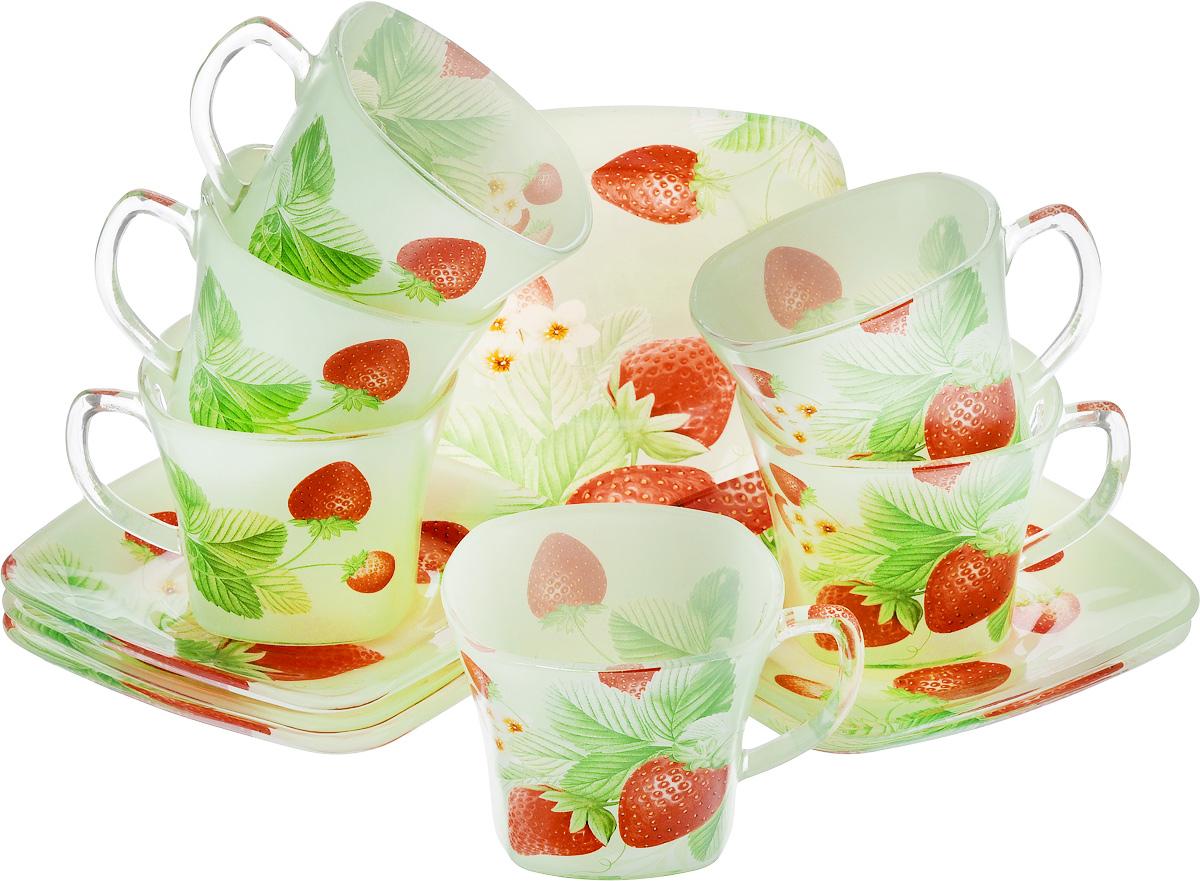 Набор чайный Loraine, цвет: красный, зеленый, 12 предметов24129Чайный набор Loraine состоит из шести чашек и шести блюдец, выполненных из стекла. Изделия оформлены ярким рисунком. Изящный набор эффектно украсит стол к чаепитию и порадует вас функциональностью и ярким дизайном. Можно мыть в посудомоечной машине. Размеры чашки (по верхнему краю): 8 х 8 см. Высота чашки: 6,5 см. Объем чашки: 200 мл. Размеры блюдца: 13,2 х 13,2 см. Высота блюдца: 1,5 см.