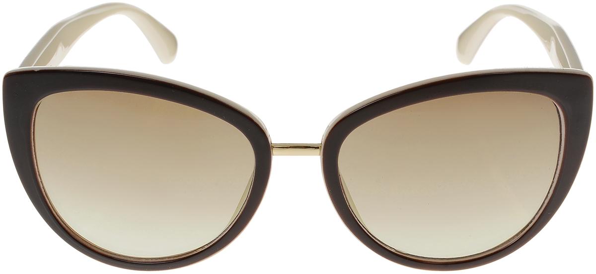 Очки солнцезащитные женские Vittorio Richi, цвет: коричневый, слоновая кость. OC8017c82-12/17fOC8017c82-12/17fСолнцезащитные очки Vittorio Richi выполнены из высококачественного пластика и металла. Пластик используемый при изготовлении линз не искажает изображение, не подвержен нагреванию и вредному воздействию солнечных лучей. Оправа очков легкая, прилегающей формы и поэтому обеспечивает максимальный комфорт. Такие очки защитят глаза от ультрафиолетовых лучей, подчеркнут вашу индивидуальность и сделают ваш образ завершенным.