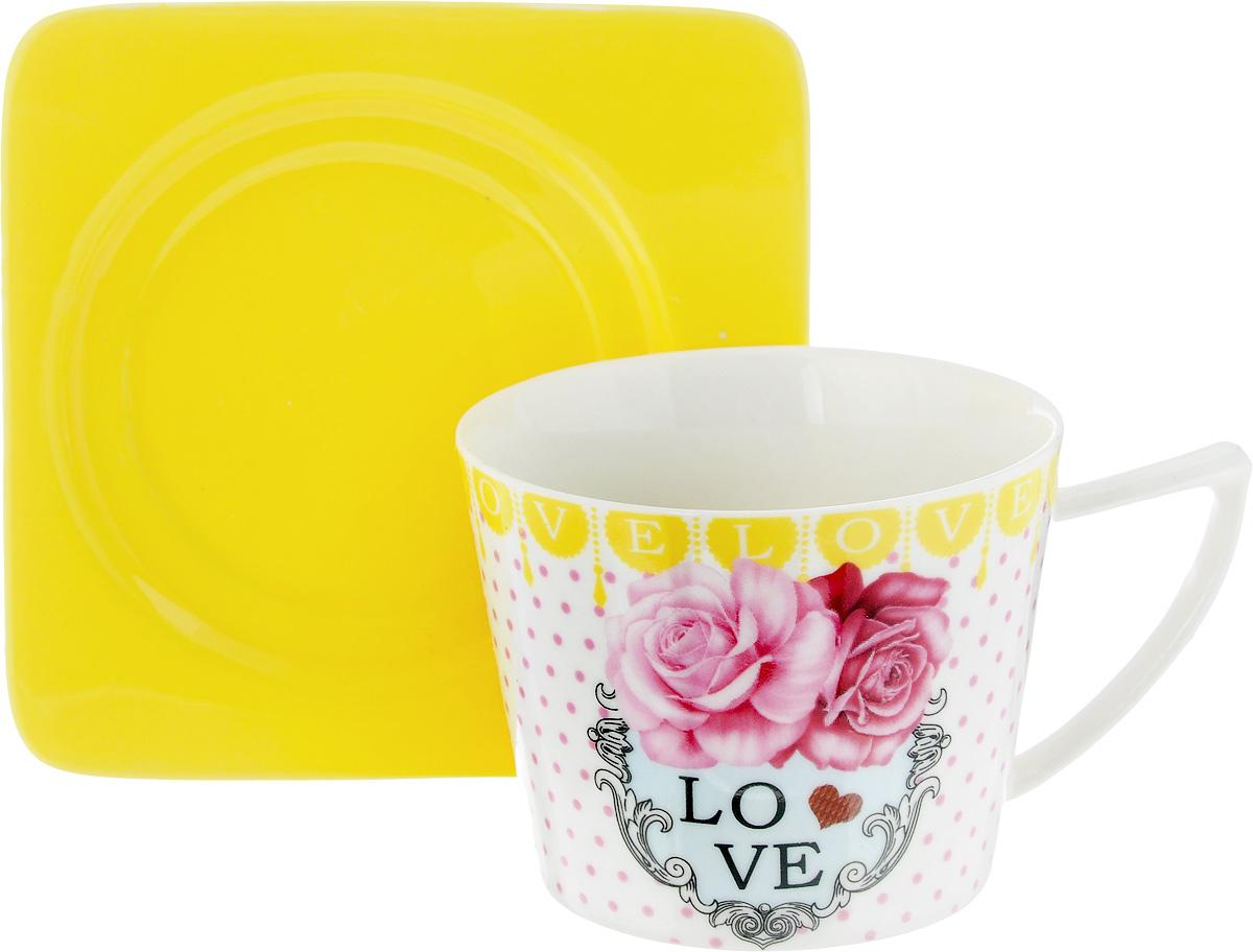 Чайная пара Loraine, цвет: белый, розовый, желтый, 2 предмета24711Чайная пара Loraine, выполненная из керамики, состоит из чашки и блюдца. Предметы набора оформлены ярким изображением и надписью Love. Изящный дизайн и красочность оформления придутся по вкусу и ценителям классики, и тем, кто предпочитает современный стиль. Чайный набор - идеальный и необходимый подарок для вашего дома и для ваших друзей в праздники, юбилеи и торжества! Он также станет отличным корпоративным подарком и украшением любой кухни. Чайная пара упакована в подарочную коробку из плотного цветного картона. Внутренняя часть коробки задрапирована белым атласом. Диаметр чашки: 8,5 см. Высота чашки: 6,5 см. Объем чашки: 230 мл. Размеры блюдца: 12 х 12 х 1,5 см.
