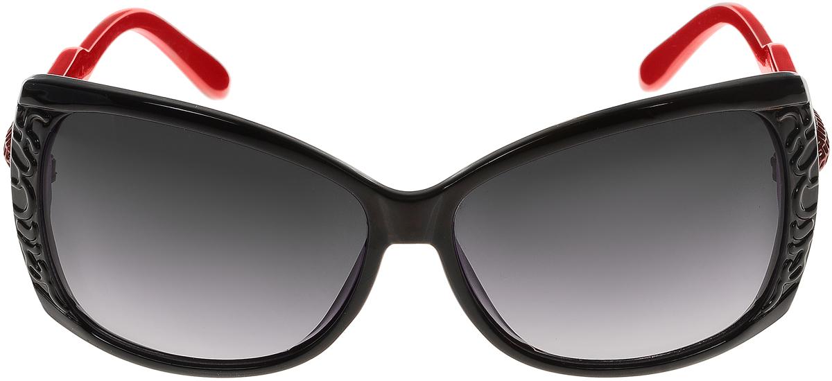 Очки солнцезащитные женские Vittorio Richi, цвет: черный, красный. ОС5023с80-10-2/17fОС5023с80-10-2/17fСолнцезащитные очки Vittorio Richi выполнены из высококачественного пластика. Пластик используемый при изготовлении линз не искажает изображение, не подвержен нагреванию и вредному воздействию солнечных лучей. Оправа очков легкая, прилегающей формы и поэтому обеспечивает максимальный комфорт. Такие очки защитят глаза от ультрафиолетовых лучей, подчеркнут вашу индивидуальность и сделают ваш образ завершенным.