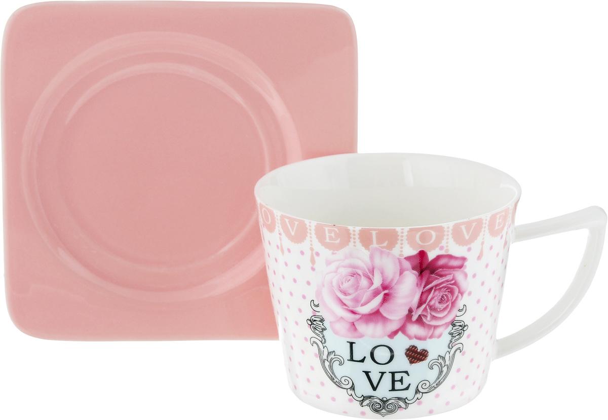 Чайная пара Loraine, цвет: белый, розовый, 2 предмета24709Чайная пара Loraine, выполненная из керамики, состоит из чашки и блюдца. Чашка оформлена ярким изображением и надписью Love. Изящный дизайн и красочность оформления придутся по вкусу и ценителям классики, и тем, кто предпочитает современный стиль. Чайный набор - идеальный и необходимый подарок для вашего дома и для ваших друзей в праздники, юбилеи и торжества! Он также станет отличным корпоративным подарком и украшением любой кухни. Чайная пара упакована в подарочную коробку из плотного цветного картона. Внутренняя часть коробки задрапирована белым атласом. Диаметр чашки: 8,5 см. Высота чашки: 6,5 см. Объем чашки: 230 мл. Размеры блюдца: 12 х 12 х 1,5 см.