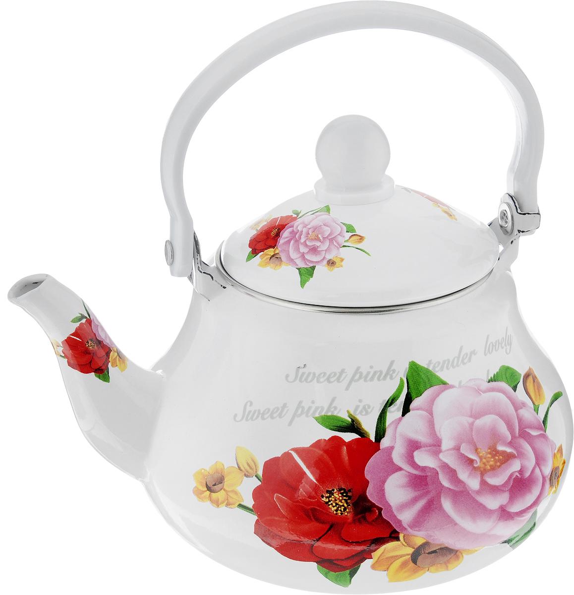 Чайник заварочный Mayer & Boch Розы, с ситечком, 1,5л23984Чайник изготовлен из высококачественной углеродистой стали с эмалированным покрытием. Такой чайник гигиеничен и устойчив к износу при длительном использовании. Изделие украшено ярким рисунком с изображением цветов. Чайник оснащен металлическим ситечком, которое не позволит чаинкам попасть в чашку, при этом сохранит букет и насыщенность чая. Чайник подходит для всех видов плит, включая индукционные. Его можно мыть в посудомоечной машине. Высота чайника (без учета ручки и крышки): 11,5 см. Высота чайника (с учетом ручки и крышки): 21 см. . Диаметр (по верхнему краю): 10 см. Диаметр индукционного диска: 9 см. Чайник подходит для использования на индукционной плите и его можно мыть в посудомоечной машине.