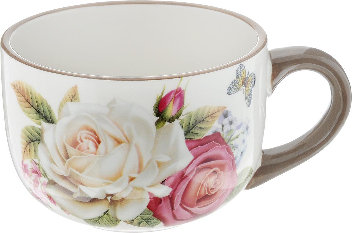 Чашка Loraine Розы и бабочка, 350 мл21694Удобная чашка Loraine Розы и бабочка предназначена для повседневного использования. Она выполнена из высококачественной керамики. Природные свойства этого материала позволяют долго сохранять температуру напитка. Внешние стенки чашки оформлены цветочным рисунком. Можно мыть в посудомоечной машине и использовать в микроволновой печи. Диаметр чашки (по верхнему краю): 12 см. Высота чашки: 8 см.