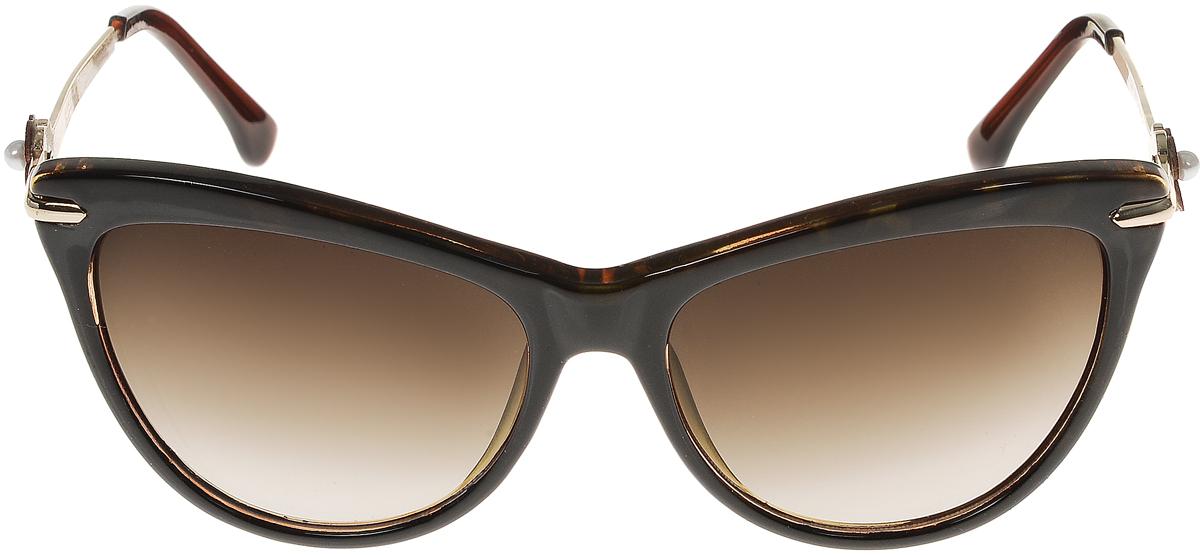 Очки солнцезащитные женские Vittorio Richi, цвет: коричневый. ОС1636с3/17fОС1636с3/17fСолнцезащитные очки Vittorio Richi выполнены из высококачественного пластика и металла. Пластик используемый при изготовлении линз не искажает изображение, не подвержен нагреванию и вредному воздействию солнечных лучей. Оправа очков легкая, прилегающей формы и поэтому обеспечивает максимальный комфорт. Такие очки защитят глаза от ультрафиолетовых лучей, подчеркнут вашу индивидуальность и сделают ваш образ завершенным.