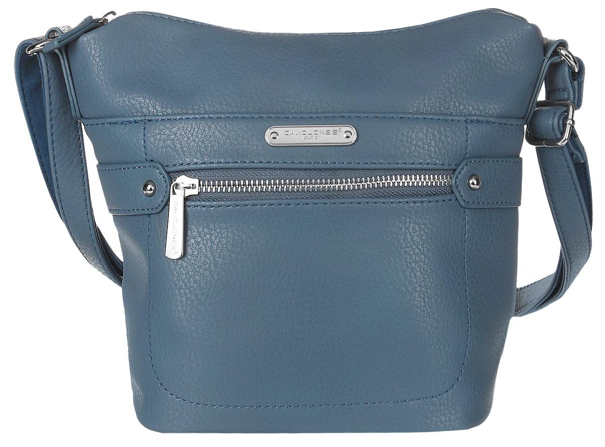 Сумка женская David Jones, цвет: синий. 75535-175535-1 BLUEСтильная женская сумка David Jones выполнена из мягкой экокожи и с лицевой стороны оформлена металлической пластиной с названием бренда. Сумка имеет одно основное отделение, закрывающееся на застежку-молнию. Внутри расположены один прорезной карман на застежке-молнии и один накладной открытый карман. Снаружи, на передней стенке размещен прорезной карман на застежке-молнии и карман на магнитной кнопке, на задней стенке так же прорезной карман на молнии. Сумка оснащена удобным плечевым ремнем.