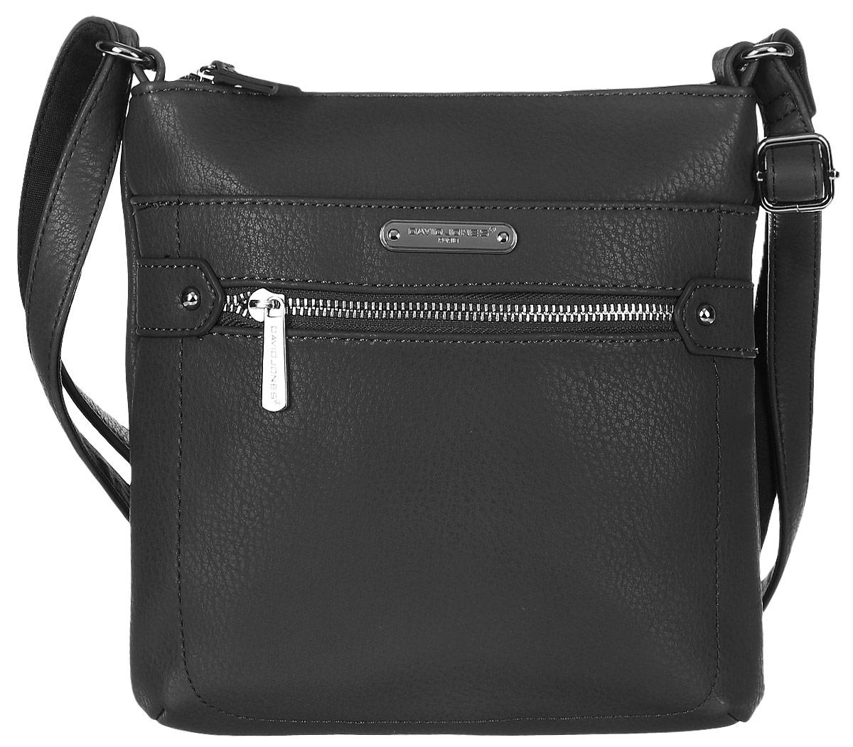 Сумка женская David Jones, цвет: черный. 75535-275535-2 BLACKСтильная женская сумка David Jones выполнена из мягкой экокожи и с лицевой стороны оформлена металлической пластиной с названием бренда. Сумка имеет одно основное отделение, закрывающееся на застежку-молнию. Внутри расположены один прорезной карман на застежке-молнии и один накладной открытый карман. Снаружи, на передней стенке размещен прорезной карман на застежке-молнии и карман на магнитной кнопке, на задней стенке так же прорезной карман на молнии. Сумка оснащена удобным плечевым ремнем.