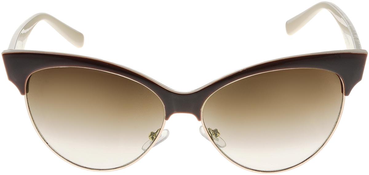 Очки солнцезащитные женские Vittorio Richi, цвет: коричневый, молочный. ОС5022с82-12/17fОС5022с82-12/17fЭлегантные солнцезащитные очки Vittorio Richi выполнены из высококачественного пластика и металла. Пластик используемый при изготовлении линз не искажает изображение, не подвержен нагреванию и вредному воздействию солнечных лучей. Оправа очков легкая, прилегающей формы и поэтому обеспечивает максимальный комфорт. Такие очки защитят глаза от ультрафиолетовых лучей, подчеркнут вашу индивидуальность и сделают ваш образ завершенным.