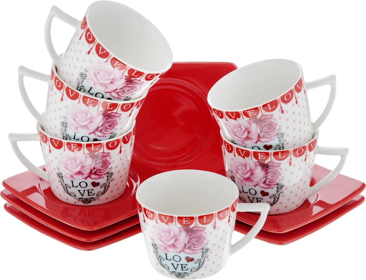 Набор кофейный Loraine, 12 предметов. 2471624716Кофейный набор Loraine состоит из 6 чашек и 6 блюдец. Изделия выполнены из высококачественного фарфора и оформлены красочным рисунком. Такой набор станет прекрасным украшением стола и порадует гостей изысканным дизайном и утонченностью. Набор упакован в подарочную коробку, задрапированную внутри белой атласной тканью. Объем чашки: 100 мл. Диаметр чашки (по верхнему краю): 6,7 см. Высота чашки: 5,2 см. Размеры блюдца (по верхнему краю): 9,7 х 9,7 см. Высота блюдца: 1,5 см.