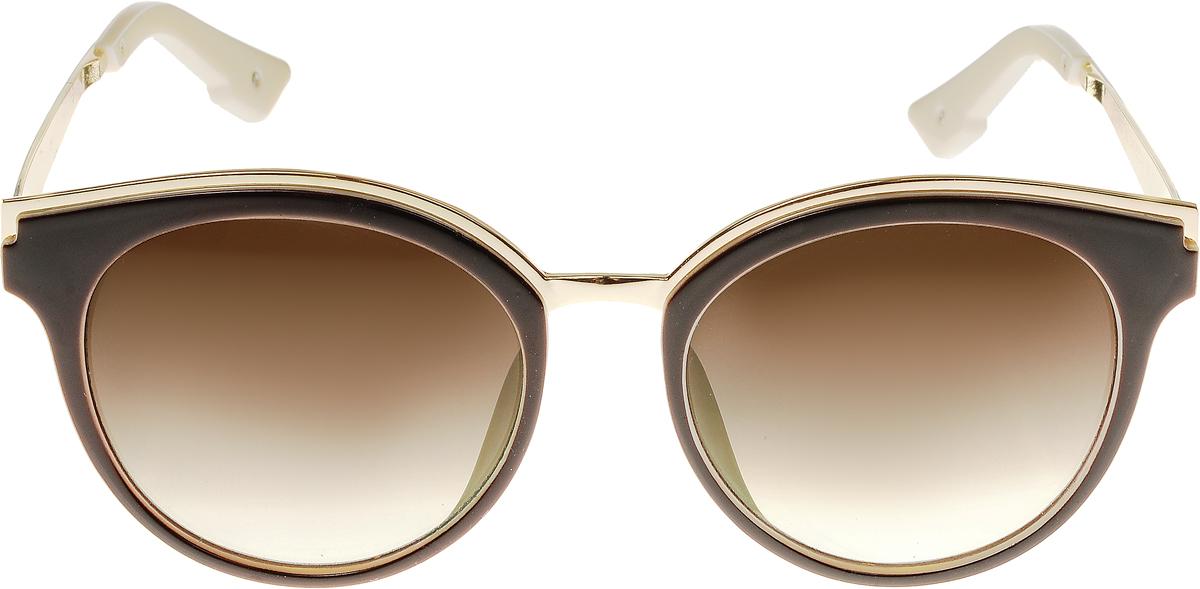 Очки солнцезащитные женские Vittorio Richi, цвет: коричневый, слоновая кость. OC8007с82-12-9/17fOC8007с82-12-9/17fСолнцезащитные очки Vittorio Richi выполнены из высококачественного пластика и металла. Пластик используемый при изготовлении линз не искажает изображение, не подвержен нагреванию и вредному воздействию солнечных лучей. Оправа очков легкая, прилегающей формы и поэтому обеспечивает максимальный комфорт. Такие очки защитят глаза от ультрафиолетовых лучей, подчеркнут вашу индивидуальность и сделают ваш образ завершенным.